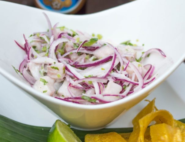 fresh citrus ceviche with plantain